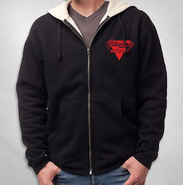 HLN - Embroidered Sherpa Lined Zip Hoodie